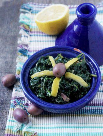 salade marocaine cuite à base de mauve, ou d'épinards