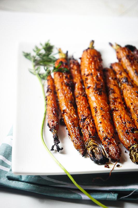 carottes fanes caramélisées umami